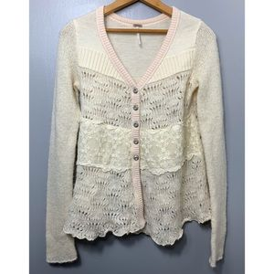FREE PEOPLE Ivory Button Down Alpaca Blend Sweater
